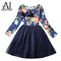 Ai Meng Baby Autumn Girl Dress Flower Print Tulle Christmas Kids Party Costume Girl Clothes Child's School Wear Infantil Vestido