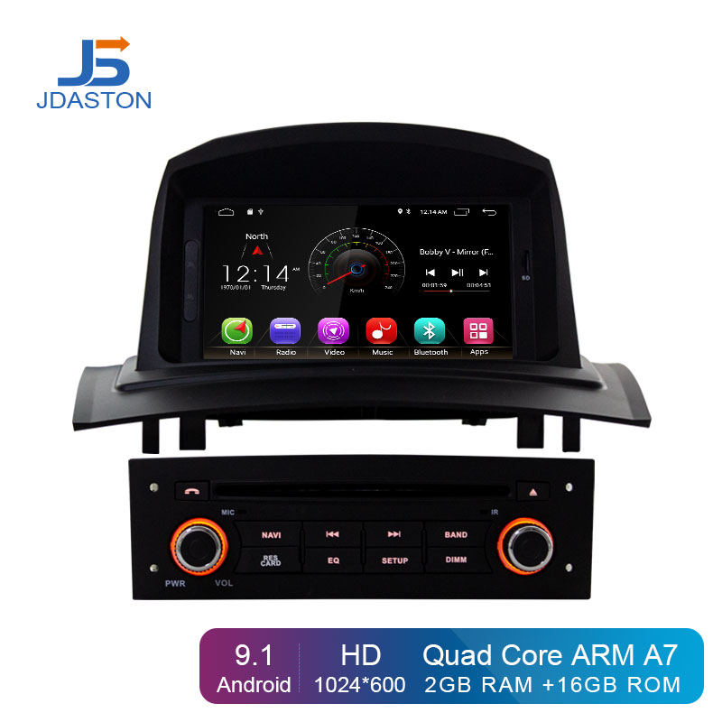 JDASTON Android 9,1 автомобильный мультимедийный плеер для RENAULT Megane Fluence 2002 2008 wifi gps навигация 1 Din автомобильный Радио Стерео DVD SD