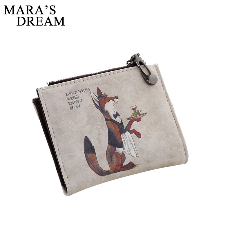 Maras Dream 2018 Brand Graffiti Printing Women Retro Zipper Cartoon Short Thin Wallets Girls Hasp Cute Fox and Owl Coin Purse