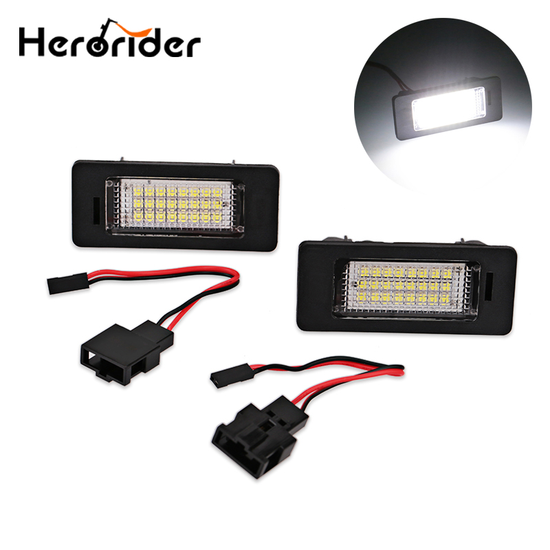 1 Pair Car Led License Plate Lights For Audi A4 Canbus Led Number Plate Light Lamp Bulbs For Audi Q5 A4 TT TTS TTRS A5 A6 A7 eonstime 2pcs canbus 18smd led number license plate light lamp for hyundai i30 gd 2013 2014 2015 auto car styling
