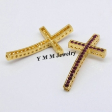 Gold Plated 25x48mm Sideways Cross Shape Bracelet DIY Connectors With Purole Crystal Fashion Findings