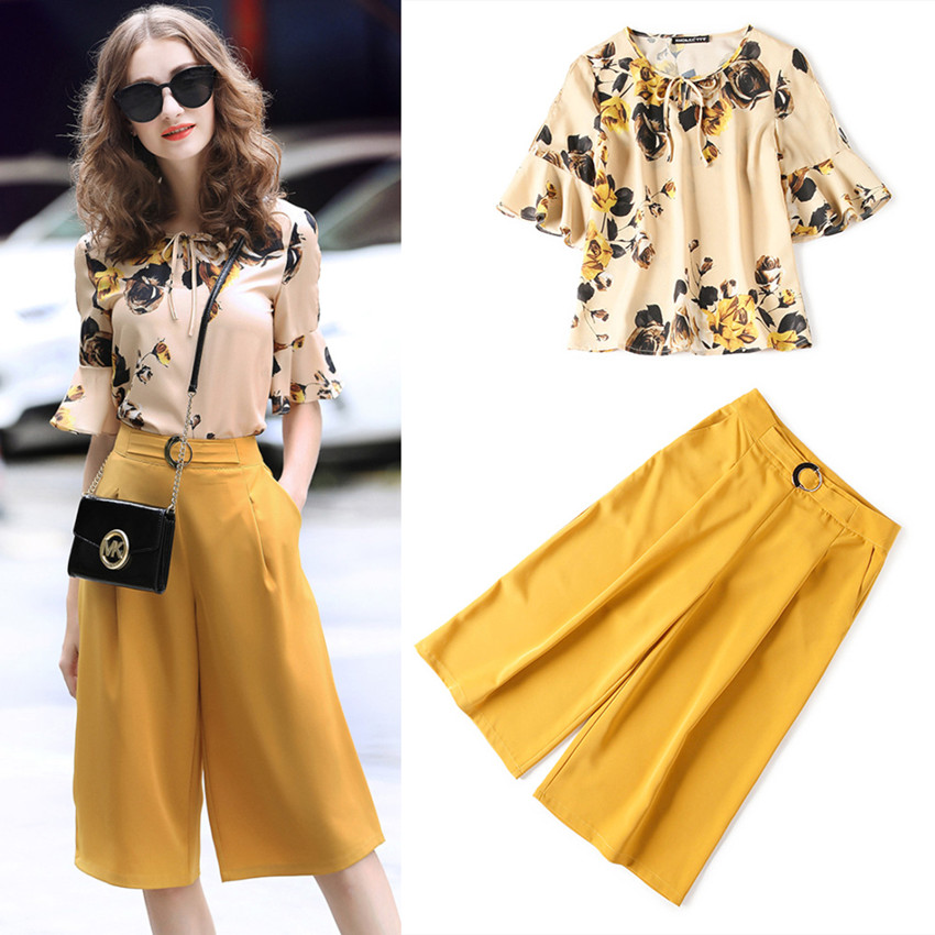 Office Lady elegant clothing set Women Summer Retro Floral Print Ruffles shirts blouses + open leg pants suits NS218