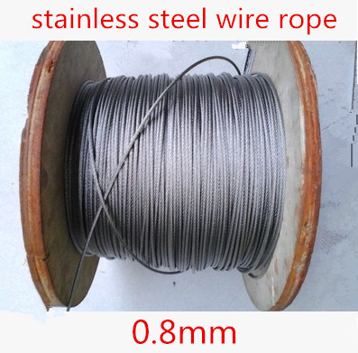 100meter/lot 0.8mm  Roll High Tensile Stainless Steel Wire Rope 7X7 Structure