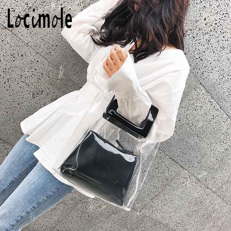 Locimole Women Summer Tote Bag PVC Clear Transparent Beach Purse Waterproof  Big Handbag New Designer Jelly Bag BIW198 PM49-in Top-Handle Bags from  Luggage ... 142d68b9eda3f