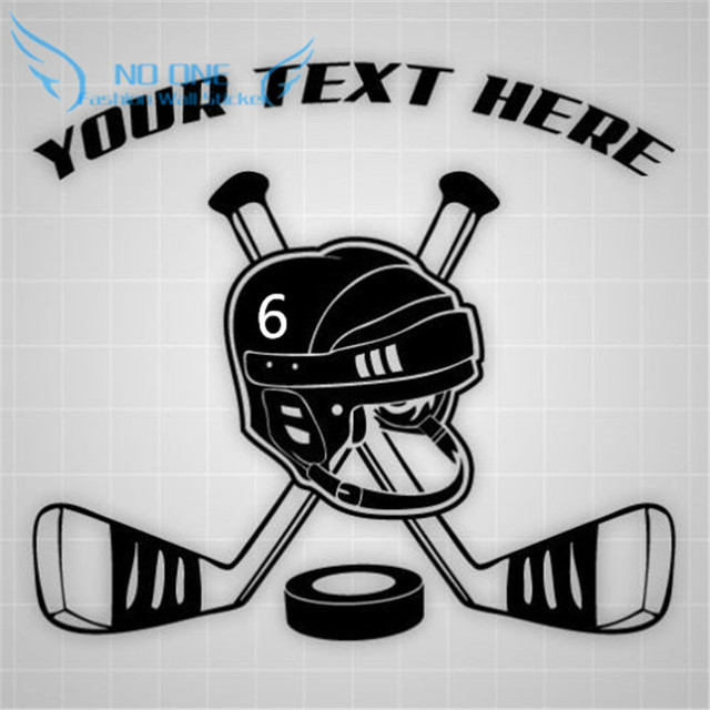 Hockey wall personalised any name and number hockey sticks helmet vinyl wall stickers stickers childrens room