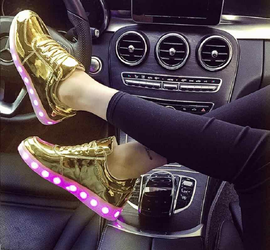 UncleJerry ขนาด 31-46 USB ชาร์จไฟ Led รองเท้าเด็กและผู้ใหญ่ Light Up รองเท้าผ้าใบสำหรับชายหญิงผู้หญิงเรืองแสงรองเท้า