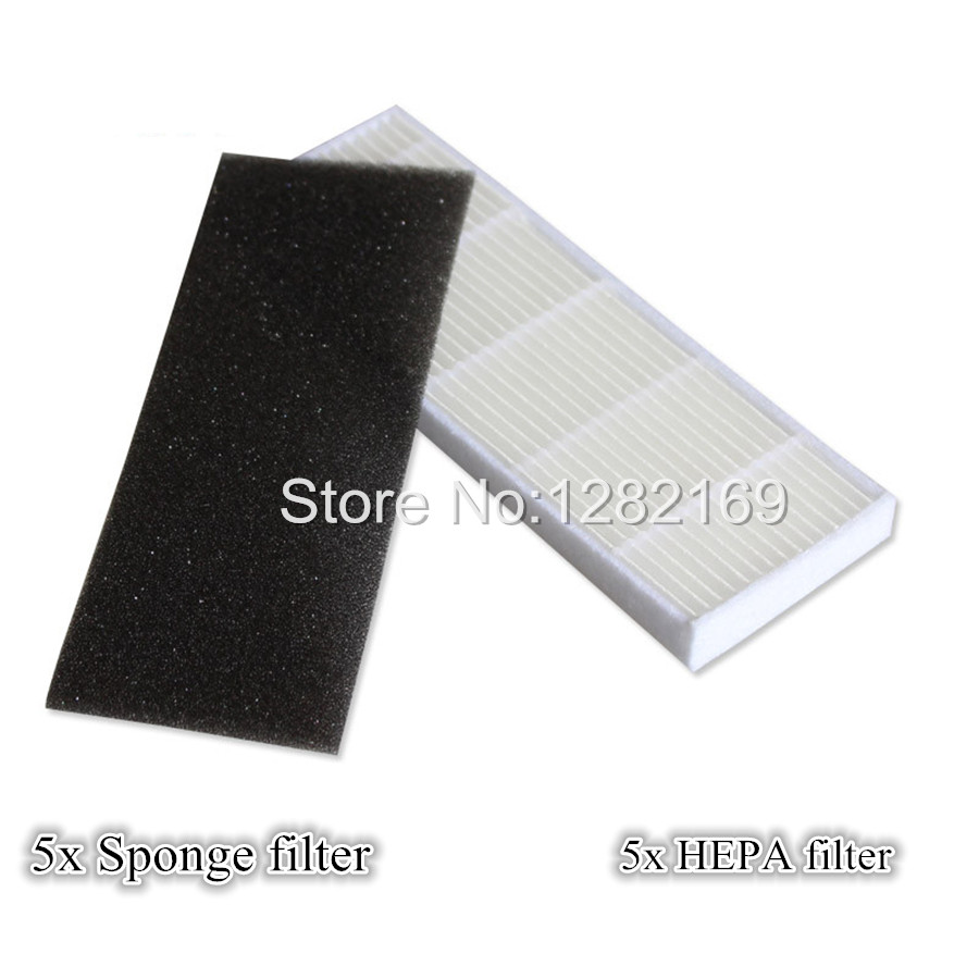 5x A4 HEPA filter and 5x Sponge Filters replacement for chuwi ILIFE A4 Robot Vacuum Cleaner
