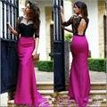 Backless de la sirena vestidos baile negro encaje rosado brillante vestido de baile vestidos del desfile