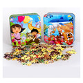 150 Pcs/set Cartoon Tin Box Wooden Puzzle Toys For Children,Cute Early Education Kids Puzzle Toys For Educational Toys