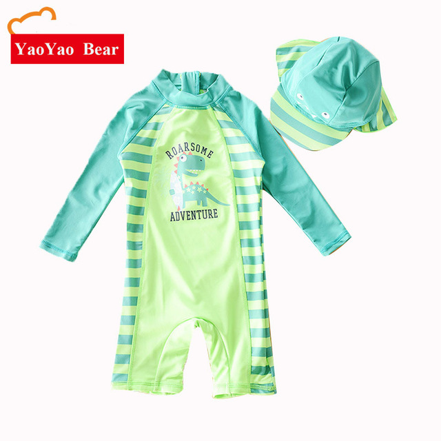 8f5e3cc751 Chilren Swimsuit Baby Boy Handsome Dinosaur Beach Sunscreen Clothing Kids  Rash Guard Baby Boy Swimwear And Cap In One Set