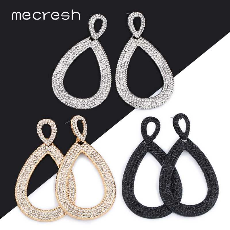 Mecresh Rhinestone Big Wedding Earrings for Brides European Statement Large Teardrop Dangle Earrings 2019 Fashion Jewelry EH1254