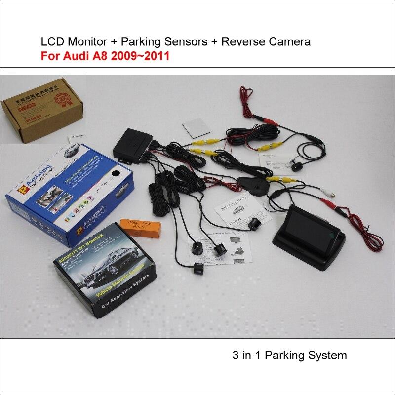 Liislee pour Audi A8 2009 ~ 2011-capteurs de stationnement de voiture + caméra de recul + écran de moniteur LCD = système de stationnement visuel 3 en 1