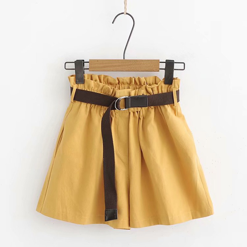 EFINNY 2019 Summer Elastic Waist Short Pants Women Ruffles High Waist Shorts  Pockets Harem Shorts With Sashes