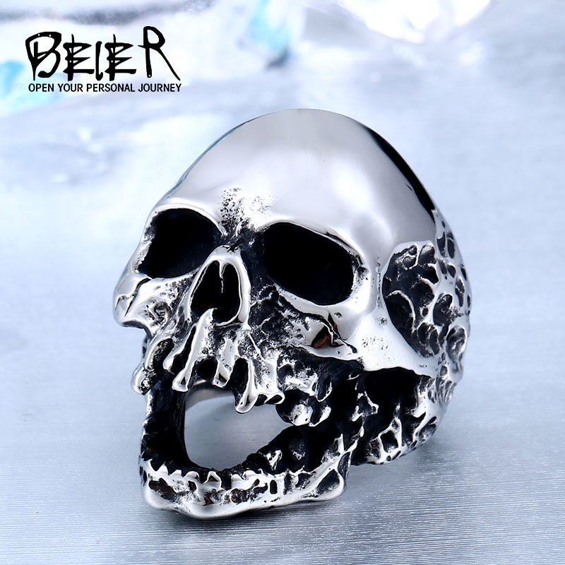 Beier Unique Original Style Stor Skalle För Man Rostfritt Stål Punk Rock Man Personlighet Ring Halloween Party Supplies BR8-382