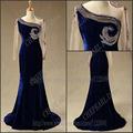 2017 Custom Size Celebrity dress Myriam fares Long sleeve Mermaid Bead Velvet Real Sample Evening Celebrity Dress High Quality