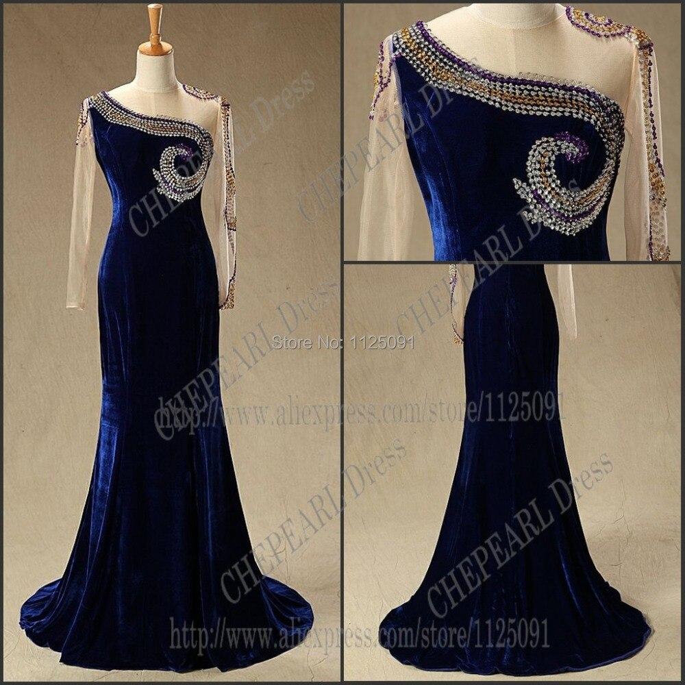 2019 taille personnalisée célébrité robe Myriam fare manches longues sirène perle velours réel échantillon soirée célébrité robe de haute qualité