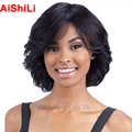 Fashion Perruque Women's Short wavy  Wigs  Afro American Women  Free Shipping Pixie cut wig natural black  and ombre bob wig