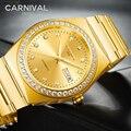 Miyota автоматические механические часы для карнавала, relogio masculino, модные деловые наручные часы, золотой Стальной ремешок, календарь