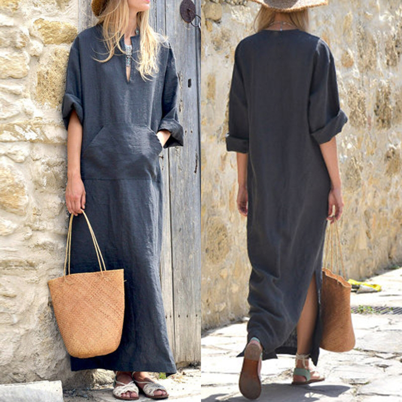 a08a7dd8cd8 ... Vestidos Plus Size. Celmia Women Vintage Long Maxi Dress 2019 Summer  Bohemian Sexy V Neck Long Sleeve Split Solid View larger