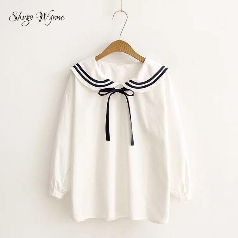 Shugo Wynne Mori Girl 2017 Spring New Women Sweet Preppy Style Sailor Collar Ribbon Long Sleeve White Shirt Tops Free Shipping