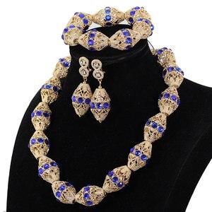 Image 2 - לקשט רויאל בלו ריינסטון אפריקאי זהב חרוזים שרשרת תכשיטי ניגריה חתונה חרוזים שרשרת עגילי צמיד P84 3