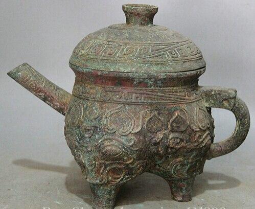 "JP S0524 12"" Old Ancient Chinese Bronze flower handle vessel teapot Wine Tea Pot Flagon flagon     - title="