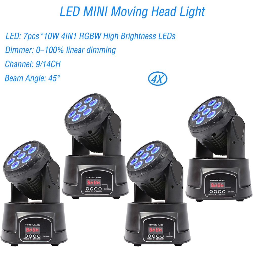 4Pcs/Lot LED 7x10W Moving Head Stage Light 4IN1 RGBW Professional For Effect Laser Stage For Disco DJ Music Party Club Dance   4Pcs/Lot LED 7x10W Moving Head Stage Light 4IN1 RGBW Professional For Effect Laser Stage For Disco DJ Music Party Club Dance