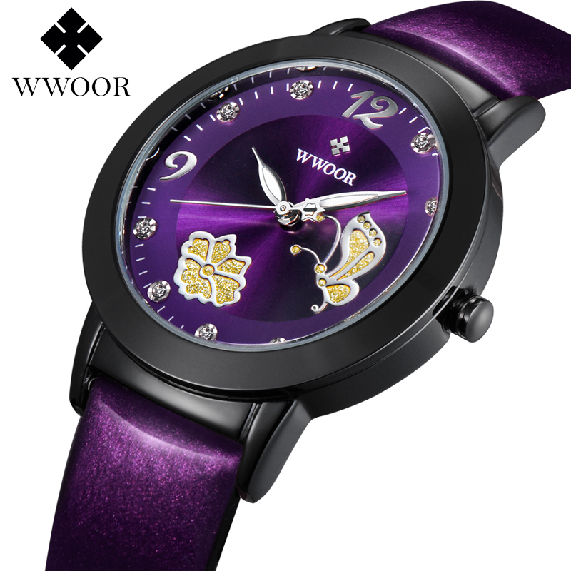 2017 Top Brand Flower Butterfly Leather relogio feminino Dress Watch Ladies Casual Quartz Watch Women Wrist Watches Female Clock new fashion brand gold geneva casual quartz watch women crystal silicone watches relogio feminino dress ladies wristwatches hot