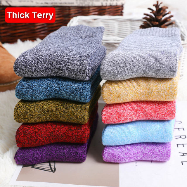 10 คู่/ล็อต Eur36 42 แฟชั่นผู้หญิงที่มีสีสัน Terry ถุงเท้าหนาถุงเท้าผ้าฝ้าย Combed หญิง s332