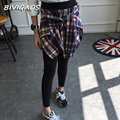 New Fashion Korean Women's Cotton Casual Fake Two Piece Plaid Shirt Leggings Gothic Bottom Skirt Pants Workout Leggings Women