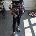 Nova Moda Coreano Falso Dois Pedaço da Camisa Xadrez de Algodão Casuais das Mulheres Leggings Gótico Saia Inferior Calças Leggings Treino Mulheres
