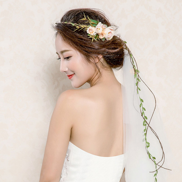 Tassel Shaped Flower Headband Floral Crown Wedding Garland Forehead HeadBand  Beach Wreath Wedding Bride Crown 5324d2b2ff5