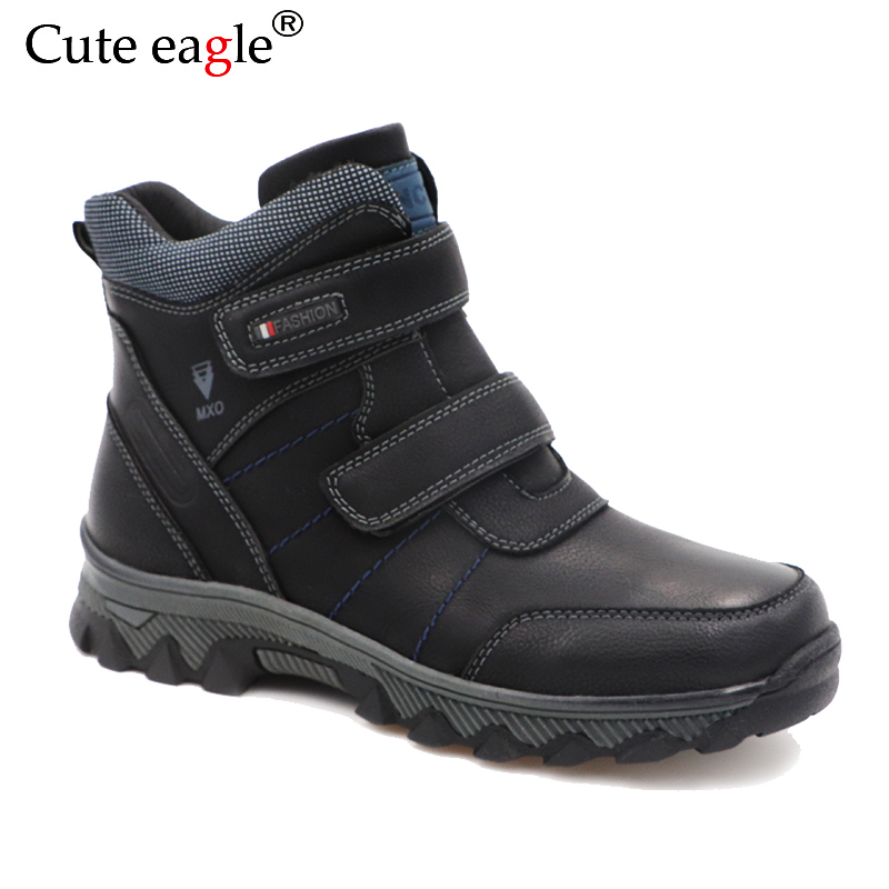 Winter Waterproof Boys Felt Boots Pu Leather Mid Calf Children s Shoes Warm Plush Rubber Winter