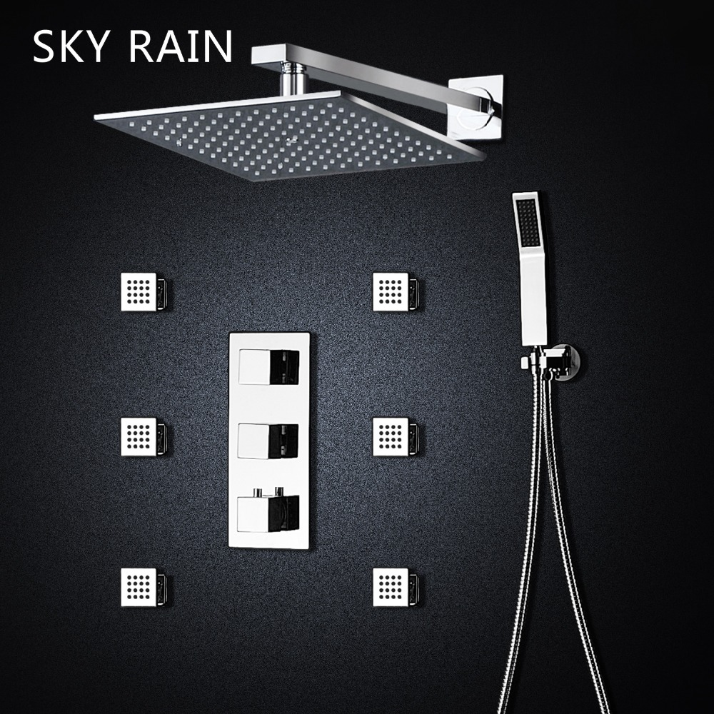 SKY RAIN 10 Inches Brass Shower Head Air Injection Lateral Jet Thermostatic Shower Set With Hand Hled Shower in Shower System from Home Improvement