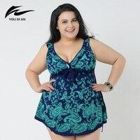 2017 Summer Sexy Printed Dress One Piece Swimsuit Swimwear Female Bathing Suit Plus Size 4XL 8XL Beach Wear