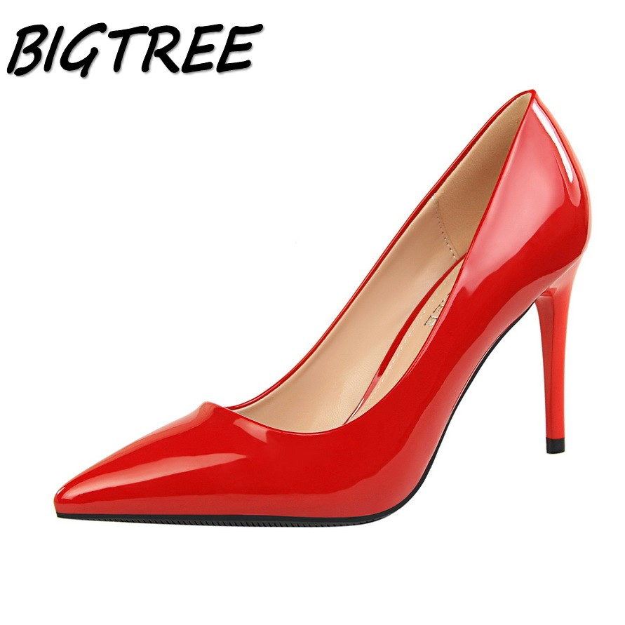 BIGTREE summer women high heels Pointed Toe shoes woman fashion ladies shallow OL party wedding thin heels shallow sexy shoes new spring summer women pumps fashion pointed toe high heels shoes woman party wedding ladies shoes leopard pu leather