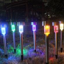 Наружный Солнечный газонный садовый светильник из нержавеющей стали, освещение, светодиодный садовый свет, трава, трубка, свет, пейзаж, высокий ножной свет