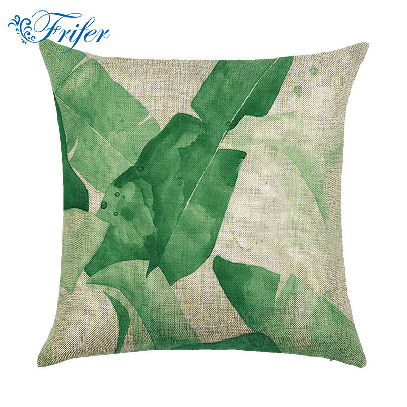Vintage Cotton Linen Cushion Cover Decorative Green Leaf Sofa Throw Pillow Case Machine Washable Pillowcase Home Decor 43X43cm