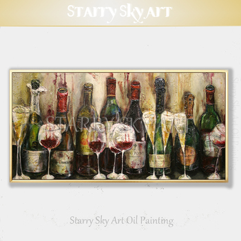 Pop Fine Art Hand-painted High Quality Wine Glass Oil Painting on Canvas Red Wine Champagne Oil Painting for Kitchen Decoration