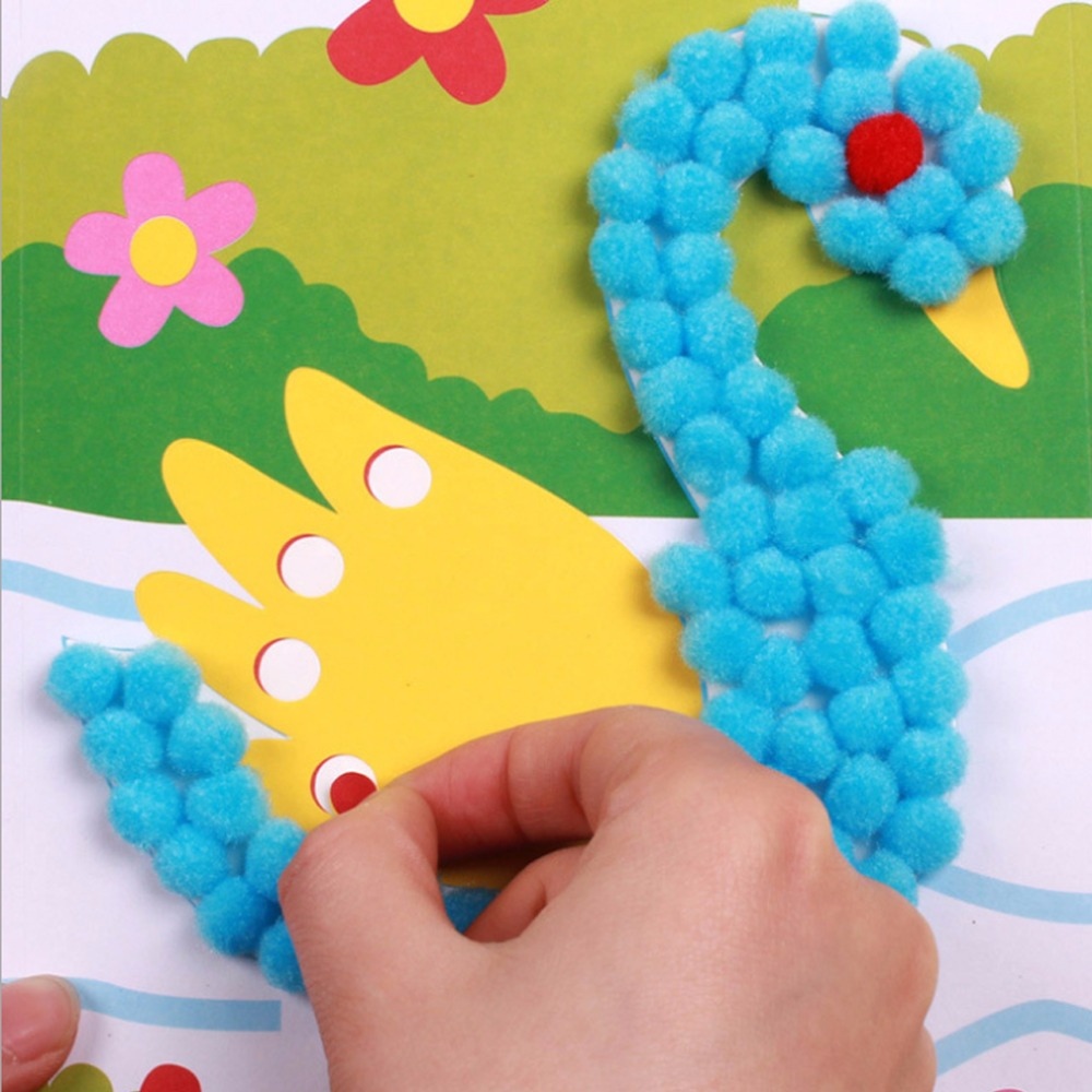 DIY Kids Plush Ball Painting Stickers Children Educational Cartoon Handmade Toys For Baby Child Development in Drawing Toys from Toys Hobbies