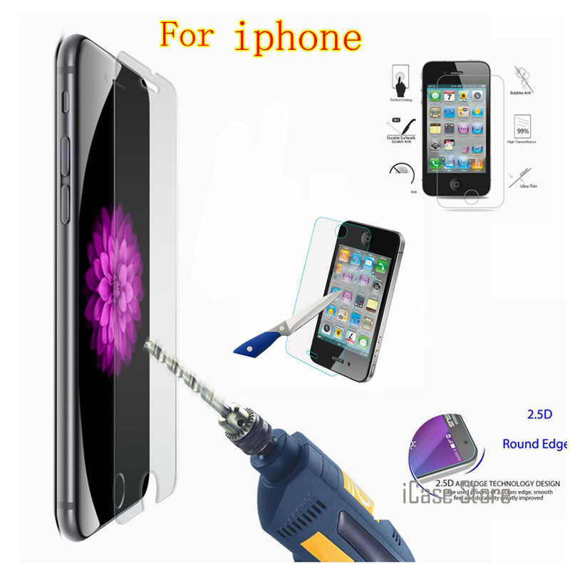 Screen Protection Tempered Glass For iPhone 4 4S 5 5S 5c SE 8 6 7 plus Vidrio templado Pantalla del telefono celular for iphone