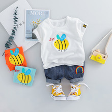 Cute Boy Outfits Toddler Baby Kids Boys Cartoon Bee Tops T-shirt Short Pants Casual Outfits Set Newborn Baby Boy Clothes  HOOLER newborn infant baby boys girls clothes set t shirt tops short sleeve pants cute outfits clothing baby boy
