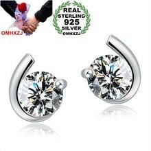 OMHXZJ WHOLESALE Fashion jewelry Heart & Arrow Cupid cut skill art moon AAA zircon REAL S925 STERLING SILVER STUD EARRINGS YS79