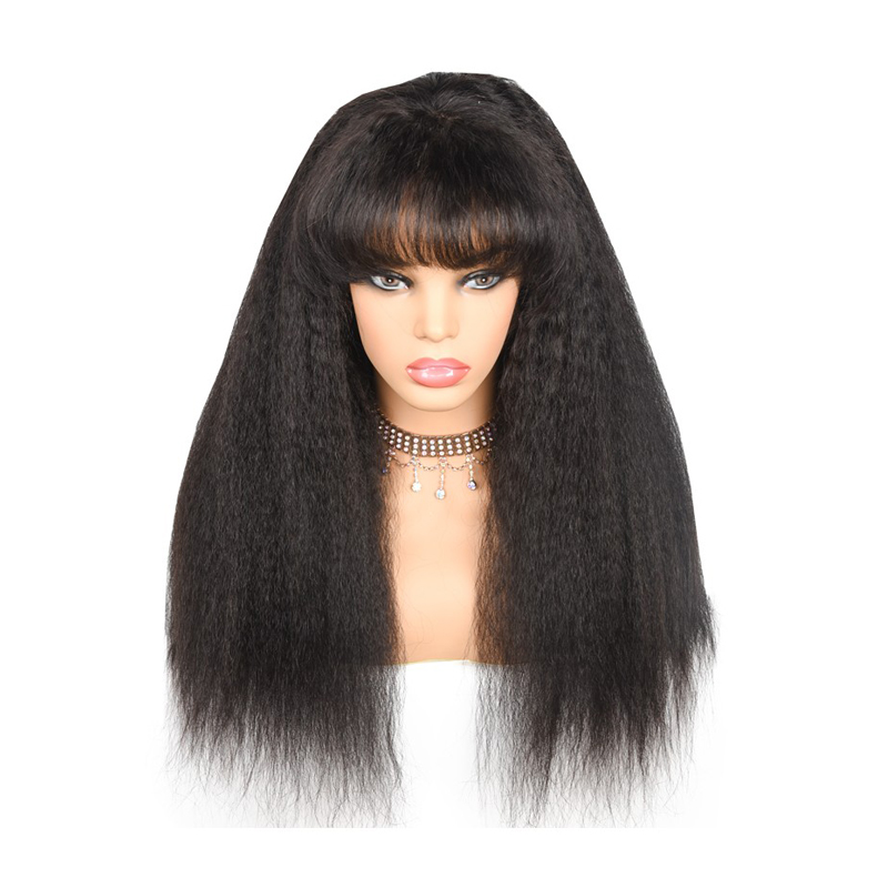 Kinky Straight Human Hair Wigs With Bangs 360 Lace Frontal Wig Pre Plucked With Baby Hair 180 Density Brazilian Remy Prosa