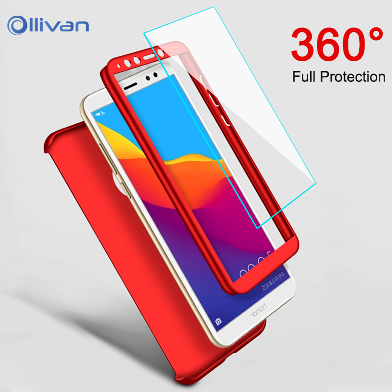 Luxury 360 Full Cover Phone Cases For Huawei P20 Lite Honor 8X Case For Huawei Mate 20 Pro 8 9 10 Lite Y6 2018 Capa With Glass