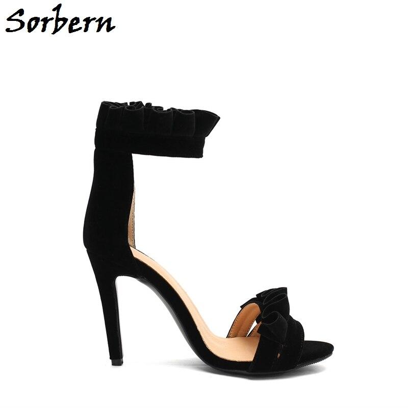 Tacón De Sandalias Las Plus Mujeres Correa Tobillo Negro Volantes Punta Abierta Personalizado Zapatos 10 Verano Alto Sorbern Color Tamaño Tacones txBOwqYpEO