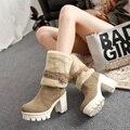 Новый Стиль моды зимние сапоги женские высокие каблуки сапоги платформа зима женская обувь сапоги женские botas femininas большой размер 34-43