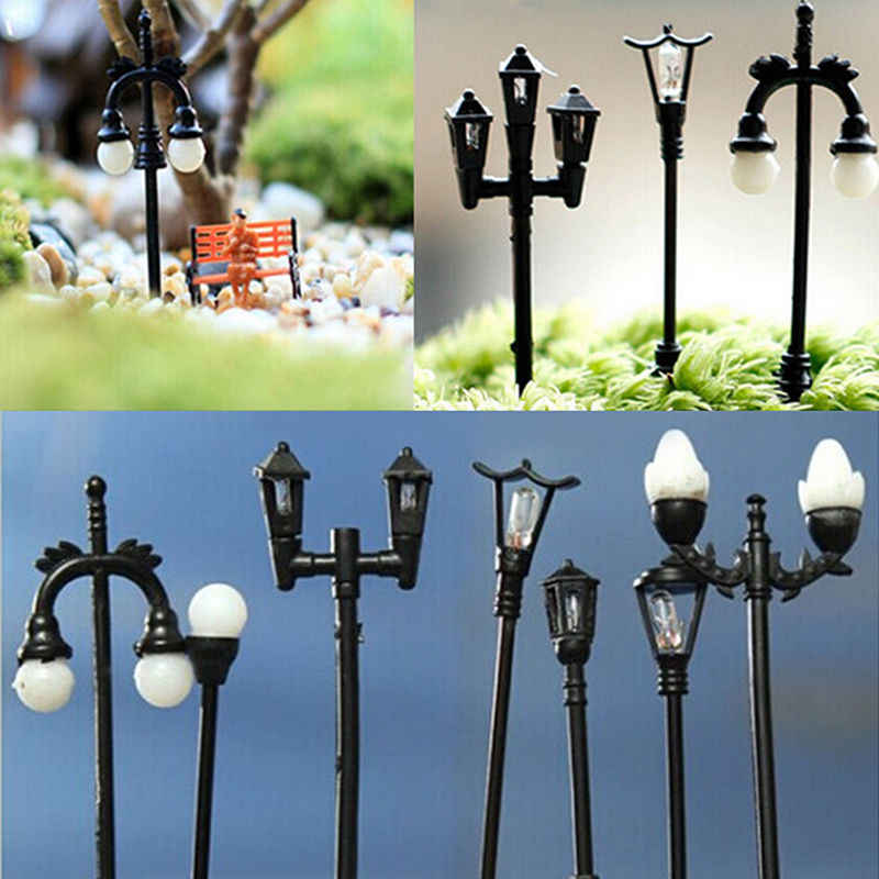 Resin Kerajinan Mini Lampu Jalan Lampu Antik Imitasi Peri Taman Rumah Miniatur Jardin Terarium Dekorasi Mikro Lanskap