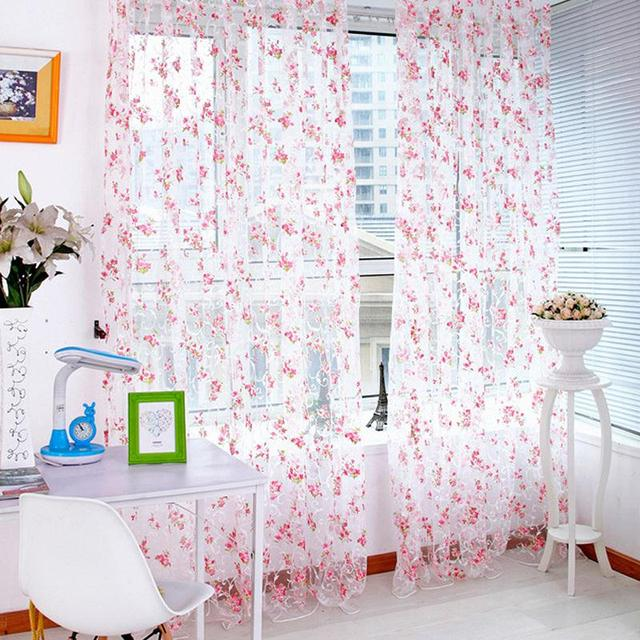 Home Trendy Fl Voile Tulle Window Curtain 1x2m Living Room Sheer Panel D Windows Curtains