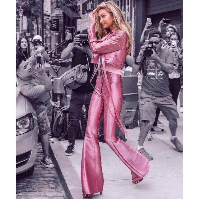 new style 27fd6 c8c4d US $67.89 |2018 neue Ankunft Mode Rosa Mantel & Hosen PU Leder Overall  Elegant Langarm Quaste Chic Zwei 2 Stück Satz Overalls Für frauen in 2018  neue ...
